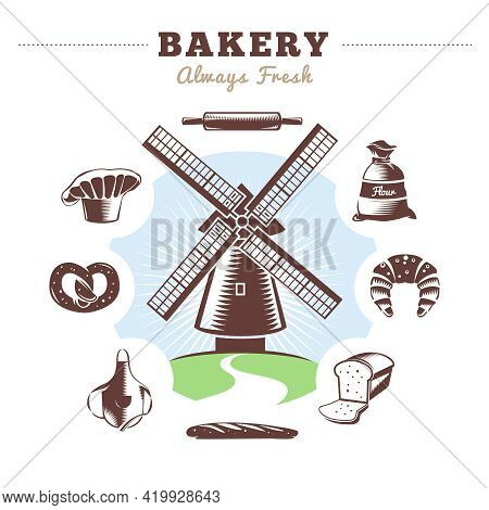 Vintage Bakery Element Set Mill And Isolated Bakery Icon Set Around With Title Bakery Always Fresh V