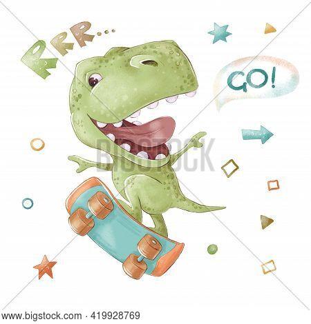 Set Of Cute Cartoon Dinosaur On A Skateboard