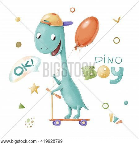 Set Of Cute Cartoon Dinosaur On A Scooter