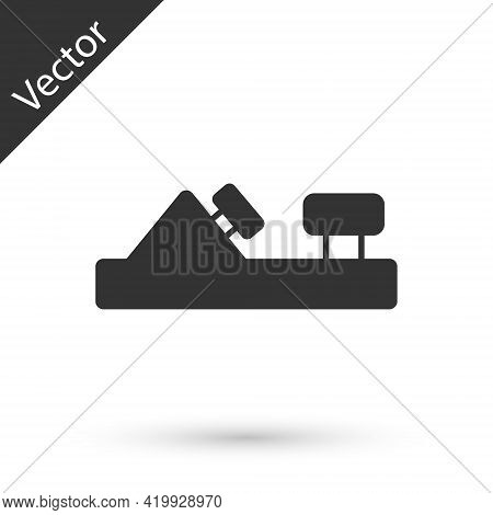Grey Wood Plane Tool For Woodworker Hand Crafted Icon Isolated On White Background. Jointer Plane. V