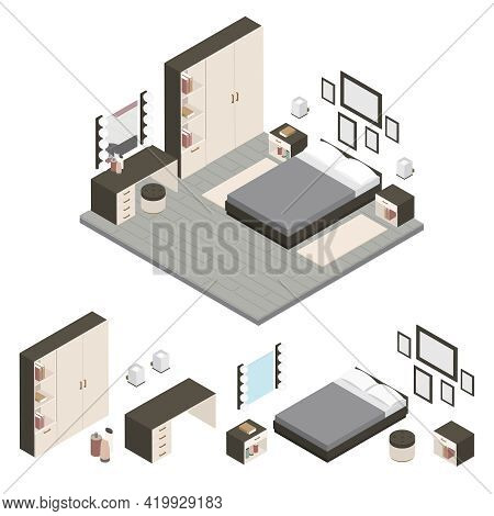 Colored Isometric Create A Bedroom Icon Set With Cabinets Bed In Studio Vector Illustration