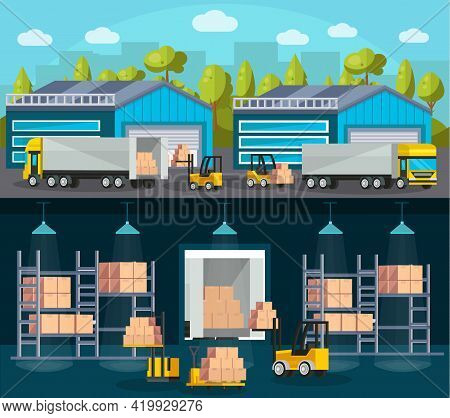 Warehouse Logistics Compositions With Product Shipment To Trucks And Interior Of Storehouse And Mach