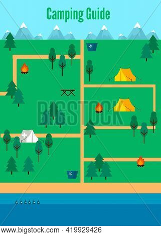 Flat Camping Map Template With Touristic And Medical Tents Bonfire Trashes Green Trees And River Vec