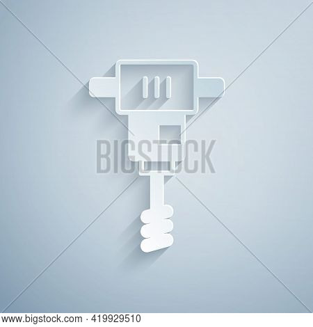 Paper Cut Electrical Hand Concrete Mixer Icon Isolated On Grey Background. Handheld Electric Cement