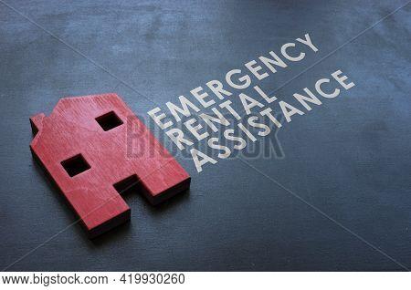 Emergency Rental Assistance Program Erap. Red Wooden Home On The Blackboard.