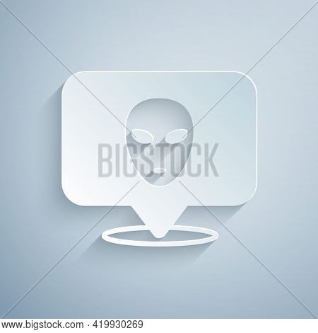 Paper Cut Alien Icon Isolated On Grey Background. Extraterrestrial Alien Face Or Head Symbol. Paper