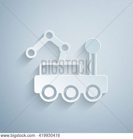 Paper Cut Mars Rover Icon Isolated On Grey Background. Space Rover. Moonwalker Sign. Apparatus For S