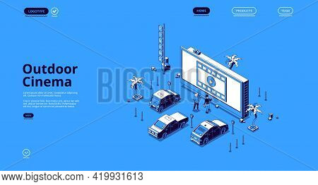 Outdoor Cinema Isometric Landing Page. Couple Dating At Car Drive-in Theater With Automobiles Stand