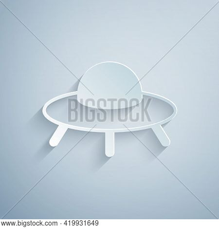 Paper Cut Ufo Flying Spaceship Icon Isolated On Grey Background. Flying Saucer. Alien Space Ship. Fu