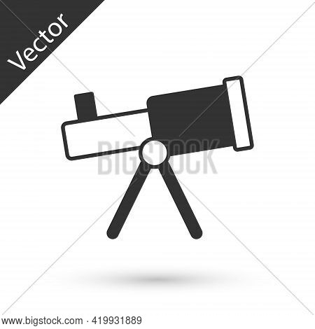Grey Telescope Icon Isolated On White Background. Scientific Tool. Education And Astronomy Element,