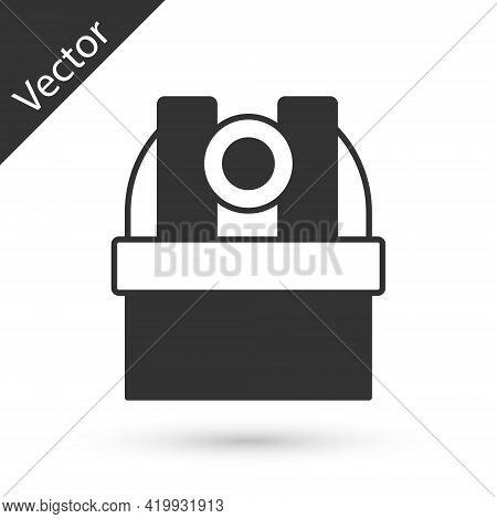 Grey Astronomical Observatory Icon Isolated On White Background. Observatory With A Telescope. Scien