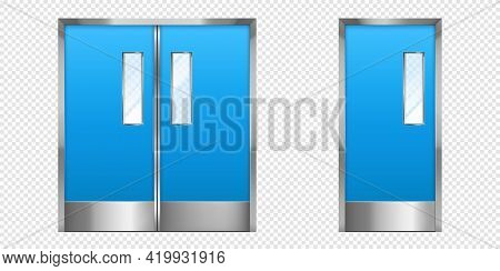 Metal Doors With Glass Elements. Closed Double And Single Office Entrance, Boutique Facade, Shop Or