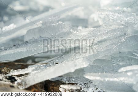 Ice Floe Breaking Up Against Shore With Sea Ice During Freezing Winter Weather. Shelf Ice