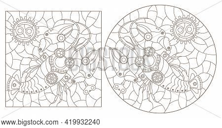 Set Of Contour Illustrations In The Style Of Stained Glass With Steam Punk Signs Of The Zodiac Cance