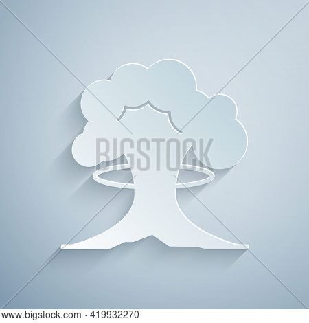 Paper Cut Nuclear Explosion Icon Isolated On Grey Background. Atomic Bomb. Symbol Of Nuclear War, En