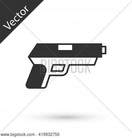 Grey Pistol Or Gun Icon Isolated On White Background. Police Or Military Handgun. Small Firearm. Vec