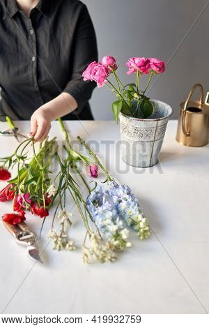 Installation Of Flowers In A Vase. Flowers Bunch, Set For Home. Fresh Cut Flowers For Decoration Hom