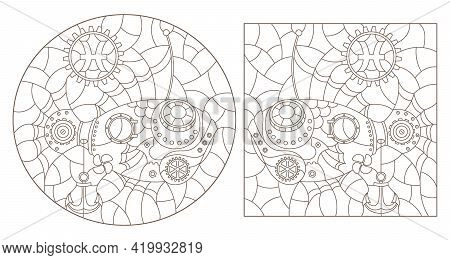 Set Of Contour Illustrations In The Style Of Stained Glass With Steam Punk Signs Of The Zodiac Pisce