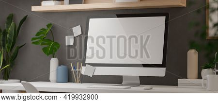 3D Rendering, Modern Home Office Desk With Computer, Supplies And Decorations With Shelf On Loft Wal