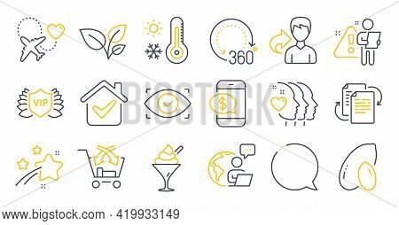 Set Of Line Icons, Such As Weather Thermometer, Bureaucracy, Honeymoon Travel Symbols. Friends Coupl