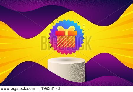 Gift Box Banner. Background With Podium Platform. Discount Sale Sticker. Coupon Present Icon. Dotted