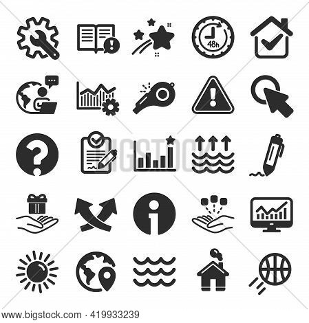 Whistle, Waves And Sun Icons. Customisation, Global Warming And Question Mark Signs. Signature Rfp,