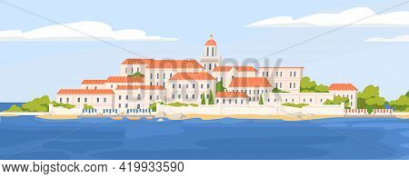 Summer Landscape Of Beautiful Coastal Town With Castle. Panoramic View Of European City At Sea Coast