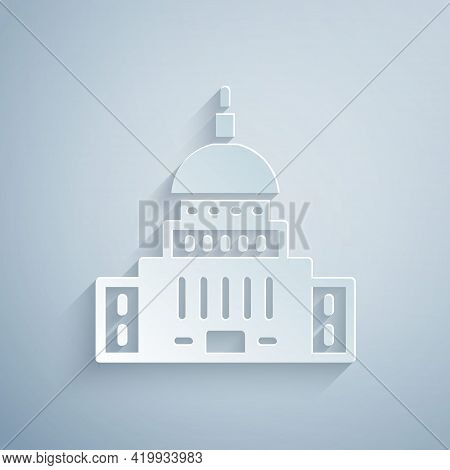 Paper Cut White House Icon Isolated On Grey Background. Washington Dc. Paper Art Style. Vector