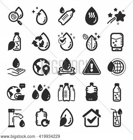 Water Drop Icons. Set Of Bottle, Antibacterial Filter And Tap Water Icons. Bacteria, Cooler And Refi