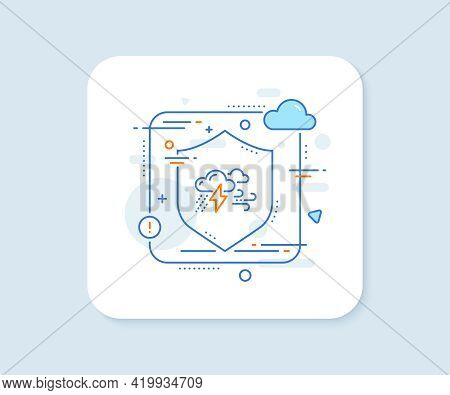 Clouds With Raindrops, Lightning, Wind Line Icon. Abstract Vector Button. Bad Weather Sign. Bad Weat