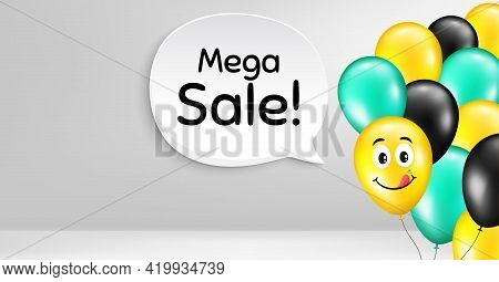 Mega Sale. Smile Balloon Vector Background. Special Offer Price Sign. Advertising Discounts Symbol.