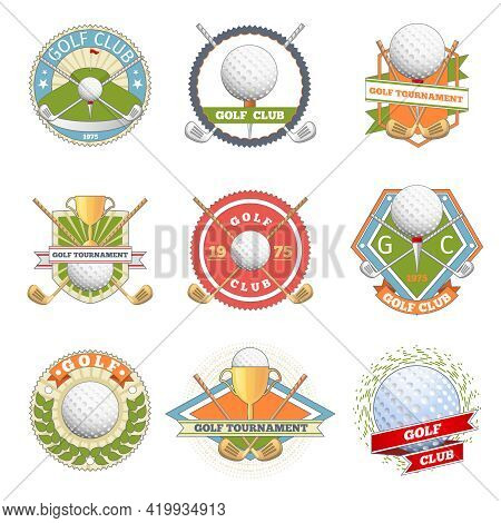 Golf Club Logo Set. Golf Labels And Badges. Logotype Competition Or Game, Tournament Symbol, Vector