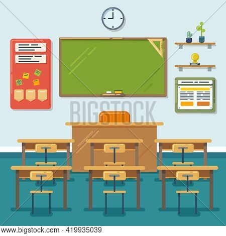 School Classroom With Chalkboard And Desks. Class For Education, Board, Table And Study, Blackboard