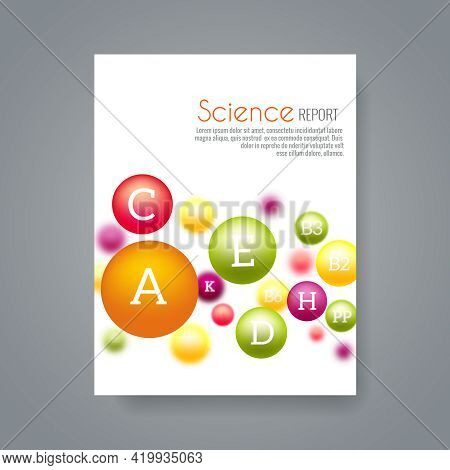 Science Or Medical Brochure Cover Template With Vitamins. Report Science Chemistry, Vitamin Science