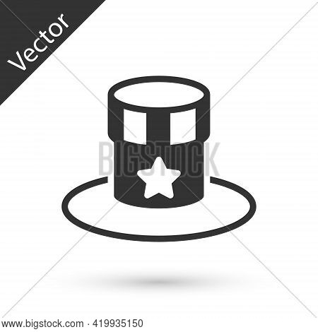 Grey Patriotic American Top Hat Icon Isolated On White Background. Uncle Sam Hat. American Hat Indep