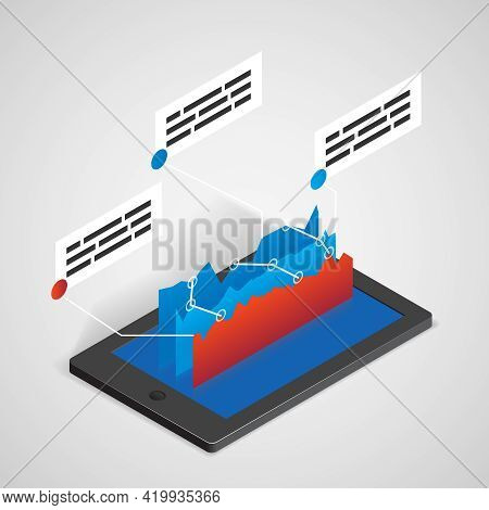 Tablet Pc With Chart, Vector Business Concept For Infographics And Presentations