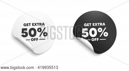 Get Extra 50 Percent Off Sale. Round Sticker With Offer Message. Discount Offer Price Sign. Special