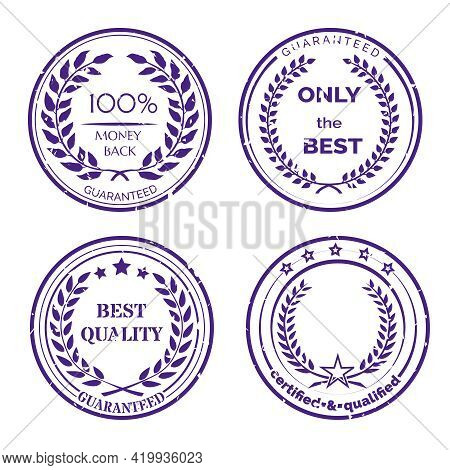 Circular Guarantee Label Set With Wreaths Isolated On White Background