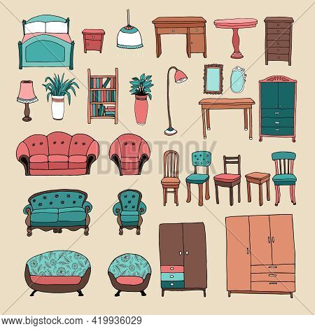 Furniture And Home Accessories Icons Set With Lounge Suites  Armchair  Sofa  Dining Chairs  Desk  Be
