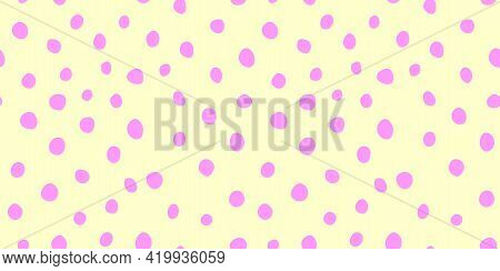 Background Polka Dot. Spotted Seamless Pattern. Random Dots, Circles, Stains, Spots. Design For Fabr