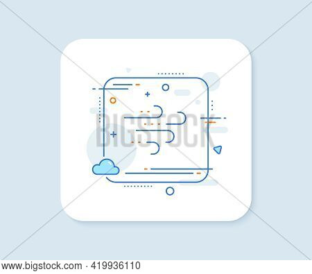 Windy Weather Line Icon. Abstract Square Vector Button. Strong Wind Sign. Windy Weather Line Icon. Q