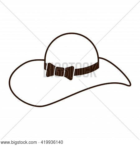 Woman Straw Hat Outline Isolated Icon On White Background. Fashionable Straw Hat With Wide Flaps Sym