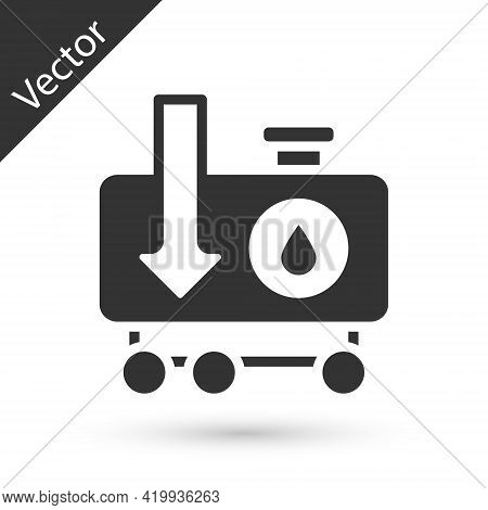 Grey Drop In Crude Oil Price Icon Isolated On White Background. Oil Industry Crisis Concept. Vector