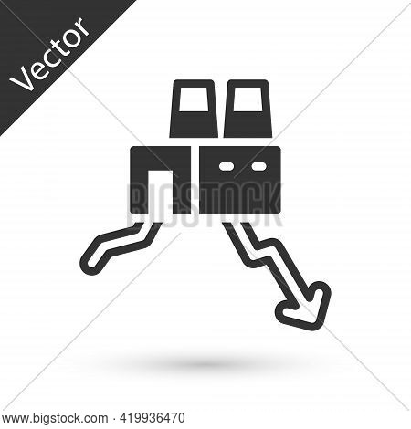 Grey Shutdown Of Factory Icon Isolated On White Background. Industrial Building. Vector