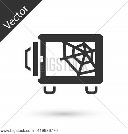 Grey Safe Icon Isolated On White Background. The Door Safe A Bank Vault With A Combination Lock. Rel