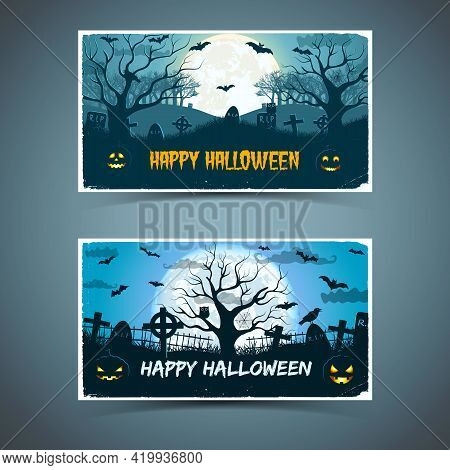 Happy Halloween Banners With White Frame Animals Old Trees Cemetery On Huge Moon Background Isolated