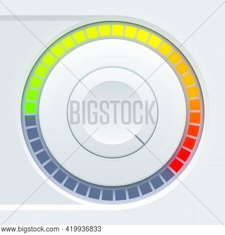Media User Interface Design With Round Volume Tumbler And Colorful Scale On Light Background Isolate