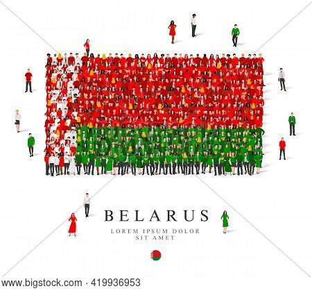 A Large Group Of People Are Standing In Green, White And Red Robes, Symbolizing The Flag Of Belarus.
