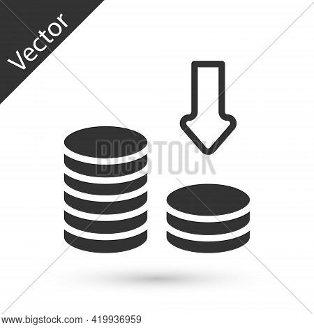Grey Dollar Rate Decrease Icon Isolated On White Background. Cost Reduction. Money Symbol With Down