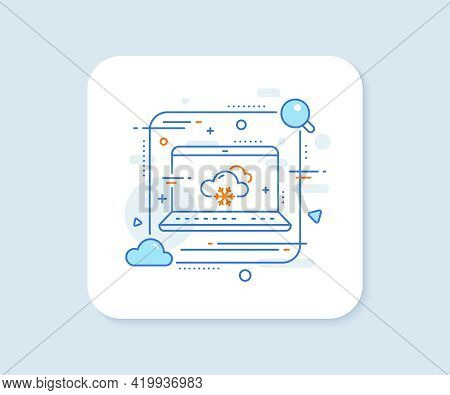 Snow Weather Forecast Line Icon. Abstract Vector Button. Clouds With Snowflake Sign. Cloudy Sky Symb